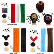 Beaute Galleria Bundle Creativity Hairstyle Chenille Stems Pipe Cleaners W Pom Pom Hair Donut Googly Eye Hair Pin For Art Crafts Halloween Christmas