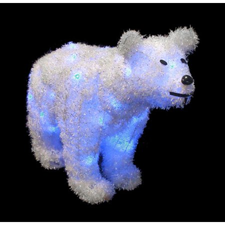 """Image of 24"""" Battery Operated LED Lighted Tinsel Polar Bear Christmas Decoration"""