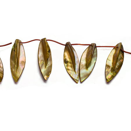 Bright Olive Mother-Of-Pearl Top Drilled Leaf Shell Beads Size:45x20mm