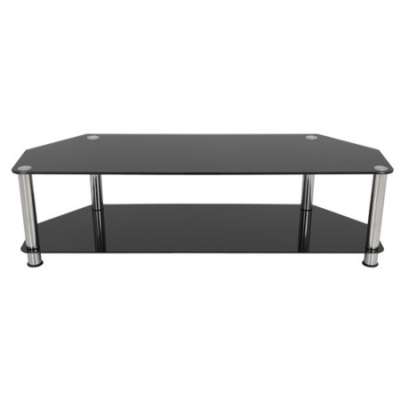 "AVF TV Stand for up to 65"" TVs, Black Glass, Chrome Legs"