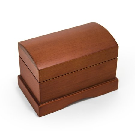 Music Treasure Box - Matte Wood Tone Treasure Chest Simple 18 Note Music Ring Box - A Time For Us (Romeo £ Juliet)
