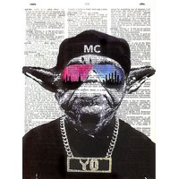 "Art N Wordz Star Wars ""MC YO"" Yoda Original Dictionary Sheet Pop Art Wall or Desk Art Print Poster"