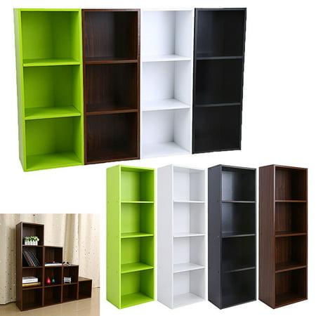 3/4 Shelf Bookcase Storage Furniture Bookshelf Bedroom Wood