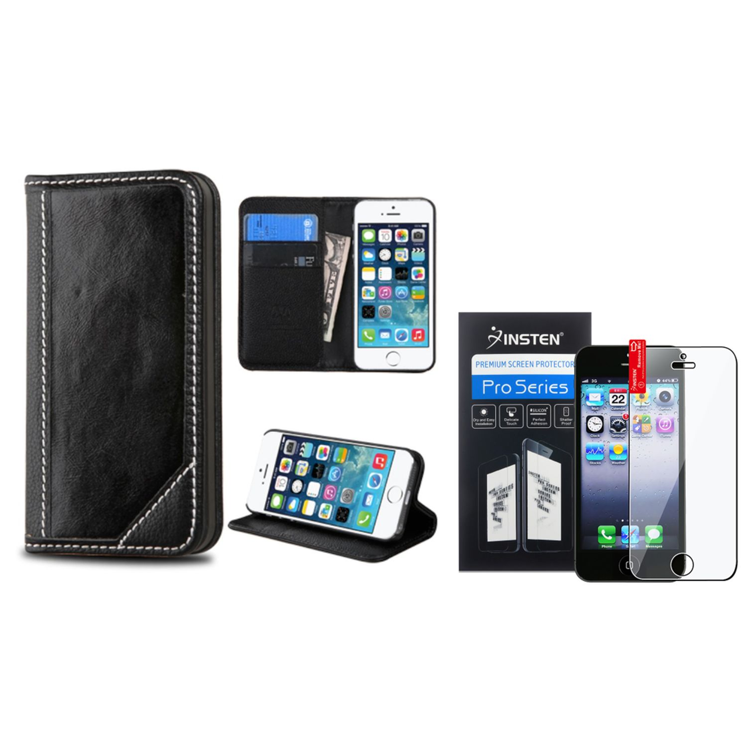 iPhone SE Case Wallet by Insten For iPhone SE 5 5S Leather Card Slot Wallet Stand Leather Cover Case+Protector Black (2-in-1 Accessory Bundle)