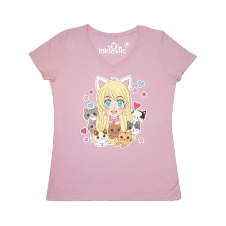 Neko Anime Girl with Kittens Women's V-Neck
