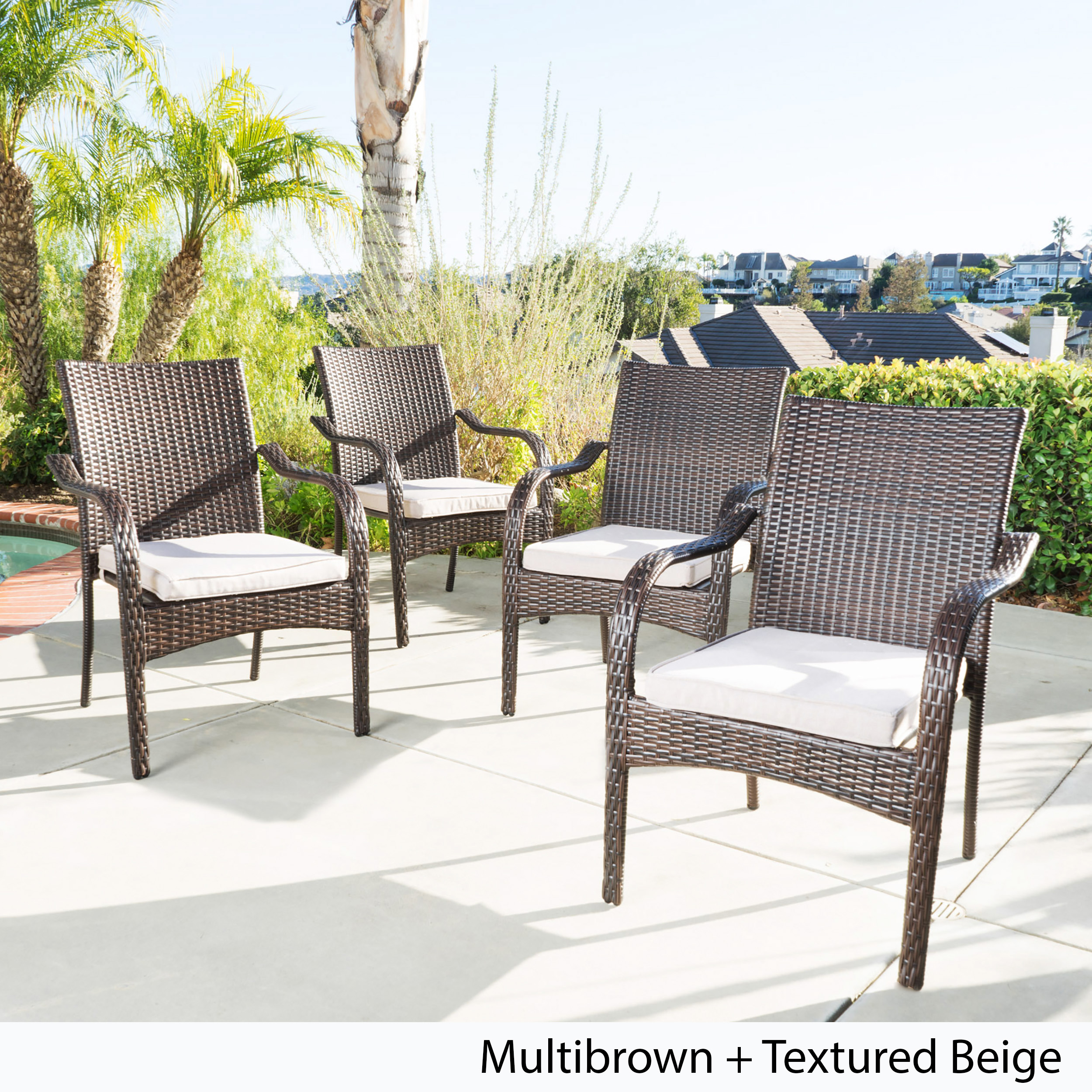 Brown Wicker Dining Outdoor Stacking Lounge Chairs (Set of 4)