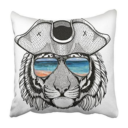 Arhome Wild Tiger Wearing Pirate Hat Cocked Tricorn Sailor Seaman Mariner Seafarer Pillowcase Cushion Cover 16x16 Inch Walmart Com Walmart Com