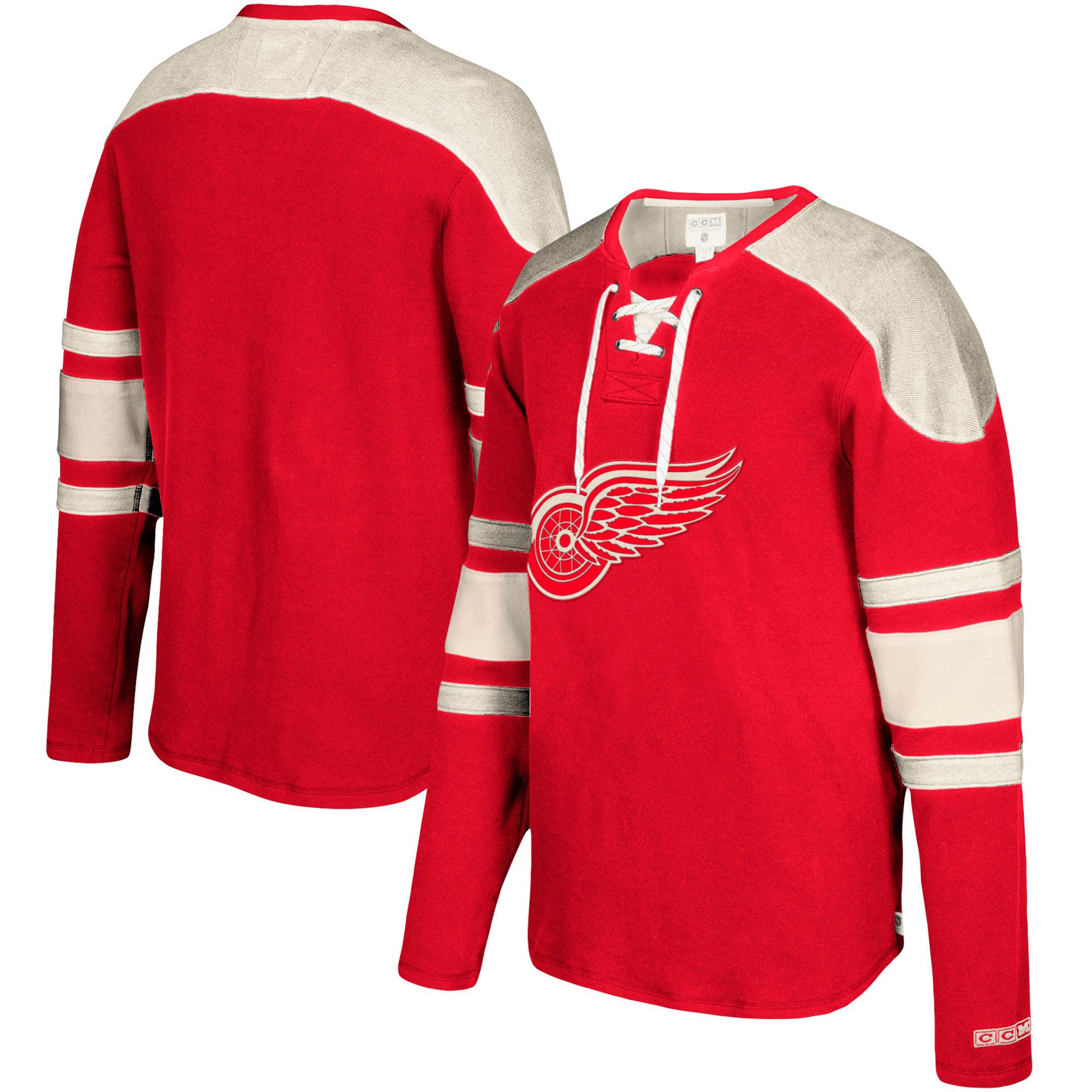Detroit Red Wings CCM Jersey Pullover Sweatshirt - Red - Walmart.com e6d583ace