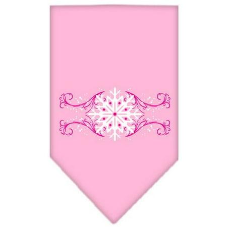 Large Swirl - Pink Snowflake Swirls Screen Print Bandana Light Pink Large