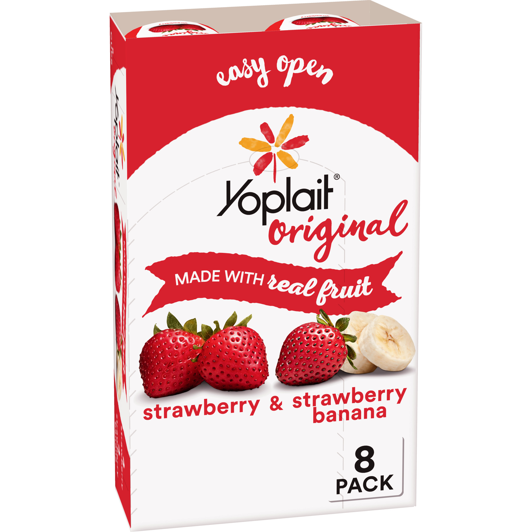 Yoplait Yogurt Variety Pack Strawberry/Strawberry Banana 48 oz 8 Count