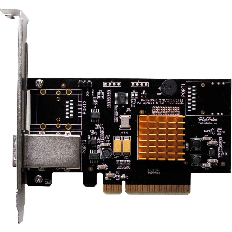 HighPoint RocketRAID 2711 - Serial Attached SCSI (SAS), Serial ATA/600 - PCI Express 2.0 x8 - Plug-in Card - RAID Supported - 0, 1, 5, 6, 10, 50, JBOD RAID Level