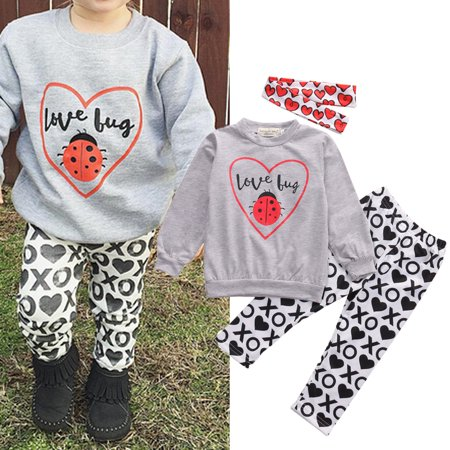 XIAXAIXU Baby Girls Kids Toddler Summer T-Shirt Tops+Pants 3Pcs Outfit Clothing Set 0-5Y