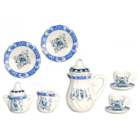 Dollhouse Tea - Dollhouse Blue/Gold Tea Set/10Pcs