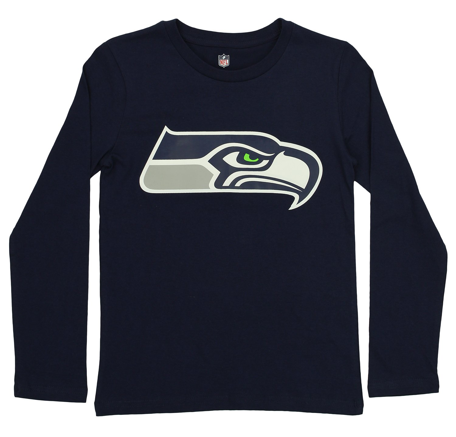 OuterStuff NFL Youth Seattle Seahawks Long Sleeve Team Logo Tee, Navy