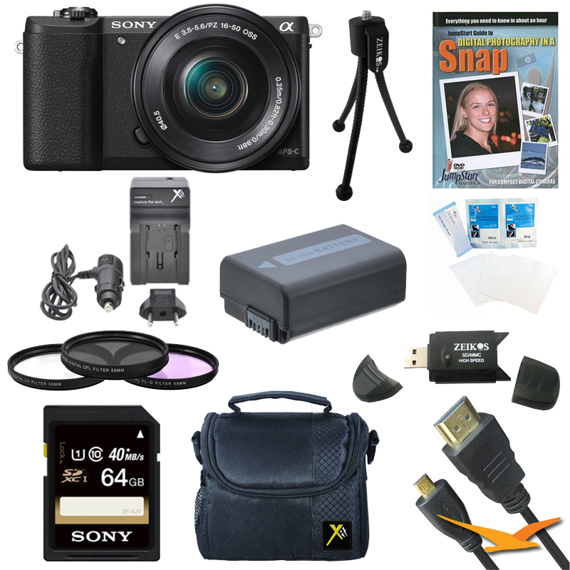 Sony a5100 Mirrorless Camera w/ 16-50mm Zoom Lens Black Bundle