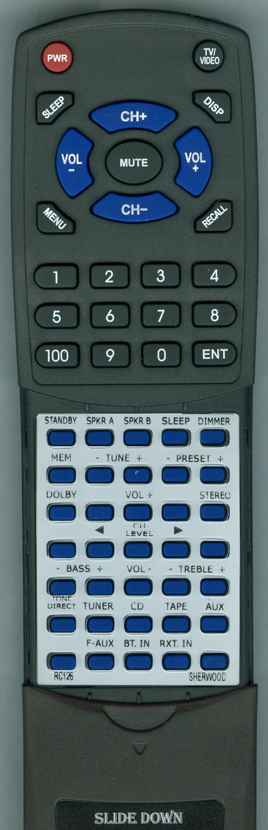 Replacement Remote for SHERWOOD RC-126, RTRC126, RC126, RX4503 by Redi-Remote