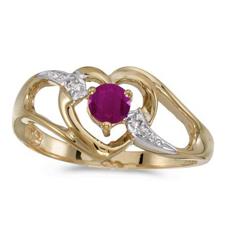 10k Yellow Gold Diamond Ruby - 10k Yellow Gold Round Ruby And Diamond Heart Ring