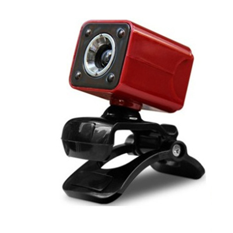 USB 2.0 Full HD 1080P 12M Pixel 4 LED Computer Webcam Web Cam Camera MIC for PC Red by Unbranded