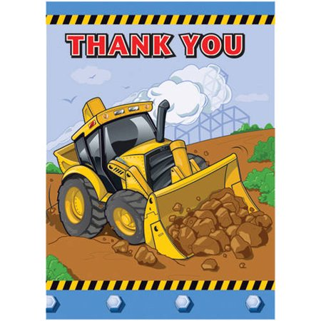 Construction Truck Thank You Notes  12Ct