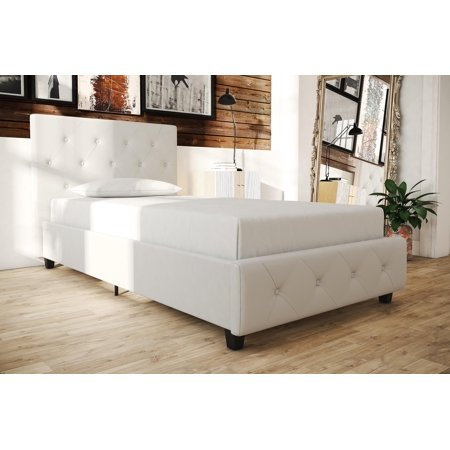 DHP Dean Upholstered Faux Leather Platform Bed with Wooden Slat Support and Tufted Headboard and Footboard, Multiple Colors and Sizes