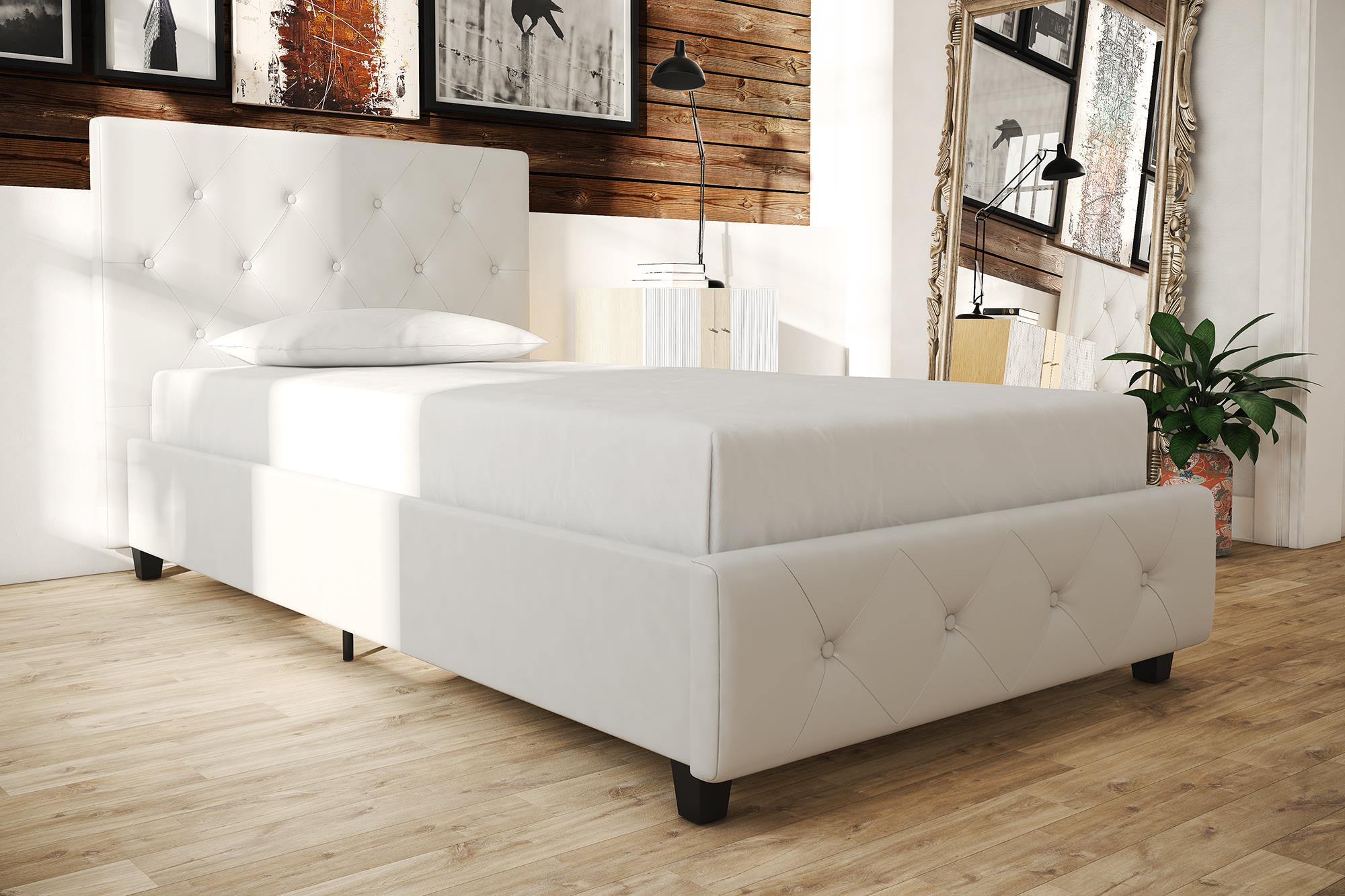 Beau DHP Dakota Upholstered Faux Leather Platform Bed With Wooden Slat Support  And Tufted Headboard And Footboard