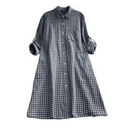 Women Vintage Plaid Turn Down Collar Long Sleeve Loose Shirt Dress Casual