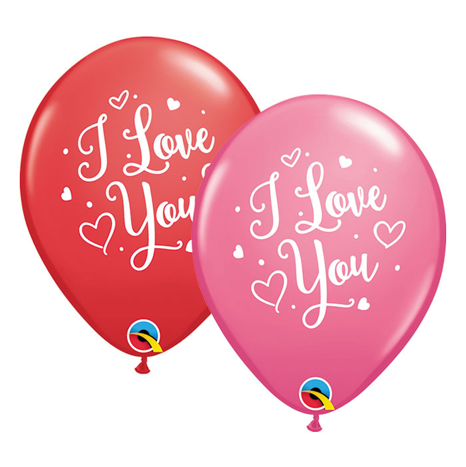 "Qualatex I Love You Hearts Valentine Script 11"" Latex Balloons, Red White, 50 CT"