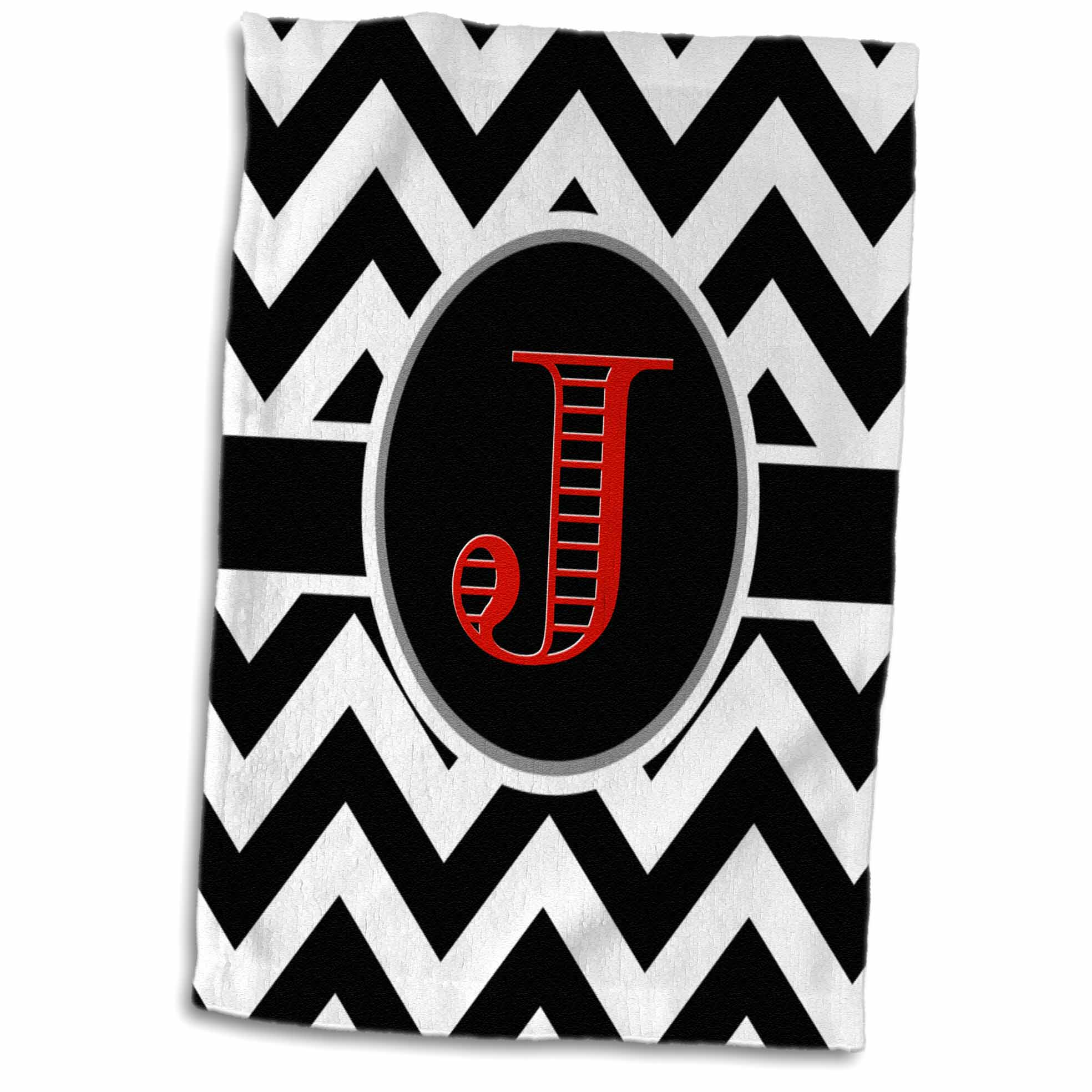 3dRose Black and white chevron monogram red initial J - Towel, 15 by 22-inch