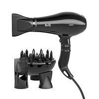 Berta 1875W Hair Dryer Negative Ionic Blow Dryer 4 Attachments, 2 Speed and 3 Heat Settings with AC Motor- Black (BERTA-H248I-BK)