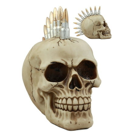 Ebros Badass Bullet Ammo Mohawk Punk Rock Skull Figurine 7'Long Biker Gangster Skeleton Head Statue For Halloween Day Of The Dead Spooky Decor - Skeleton Heads