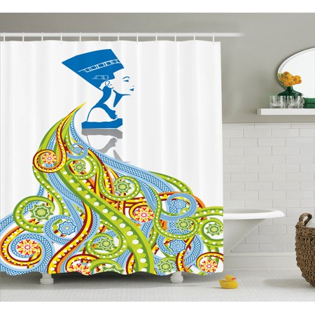 Pharaoh Accessories (Egyptian Decor Shower Curtain Set, Contemporary Illustration Of Ancient Egyptian Woman Pharaoh With Her Crown Historical Queen, Bathroom Accessories, 69W X 70L Inches, By)