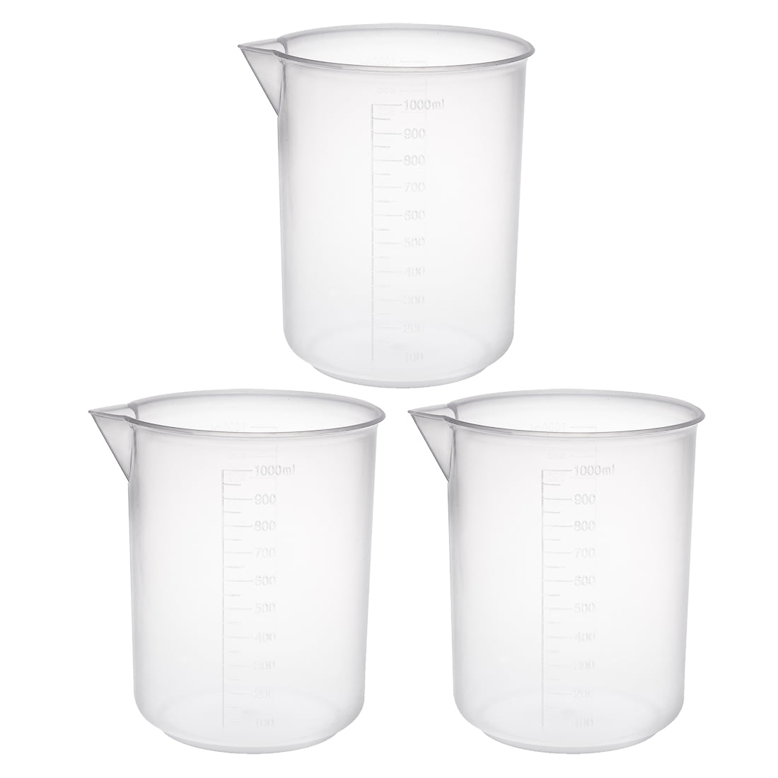 3pcs Measuring Cup Labs PP Graduated Beakers 1000ml by Unique-Bargains