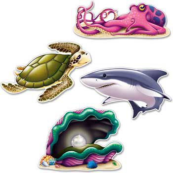 Ocean Party Wall Decoration (set of 4) - Party Supplies