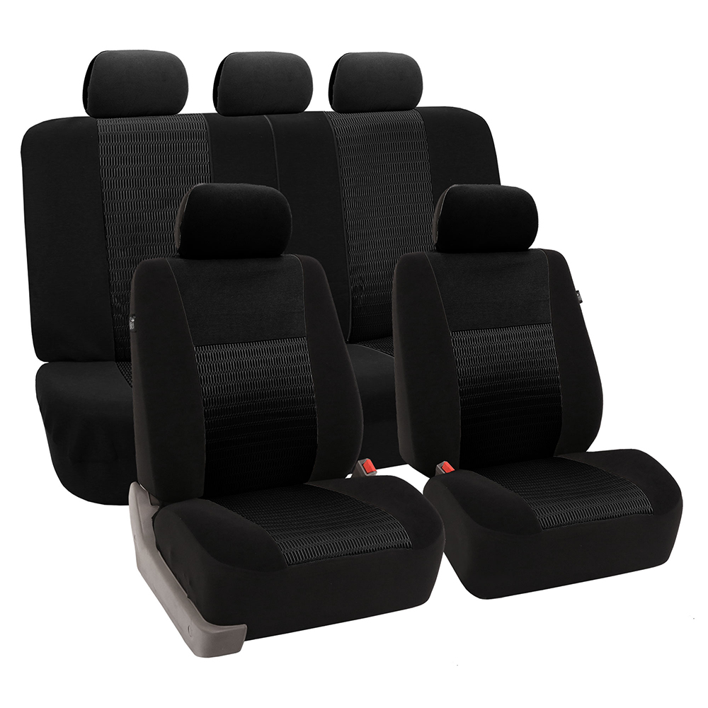 FH Group Trendy Elegance Airbag Compatible and Split Bench Seat Covers, Full Set, Black