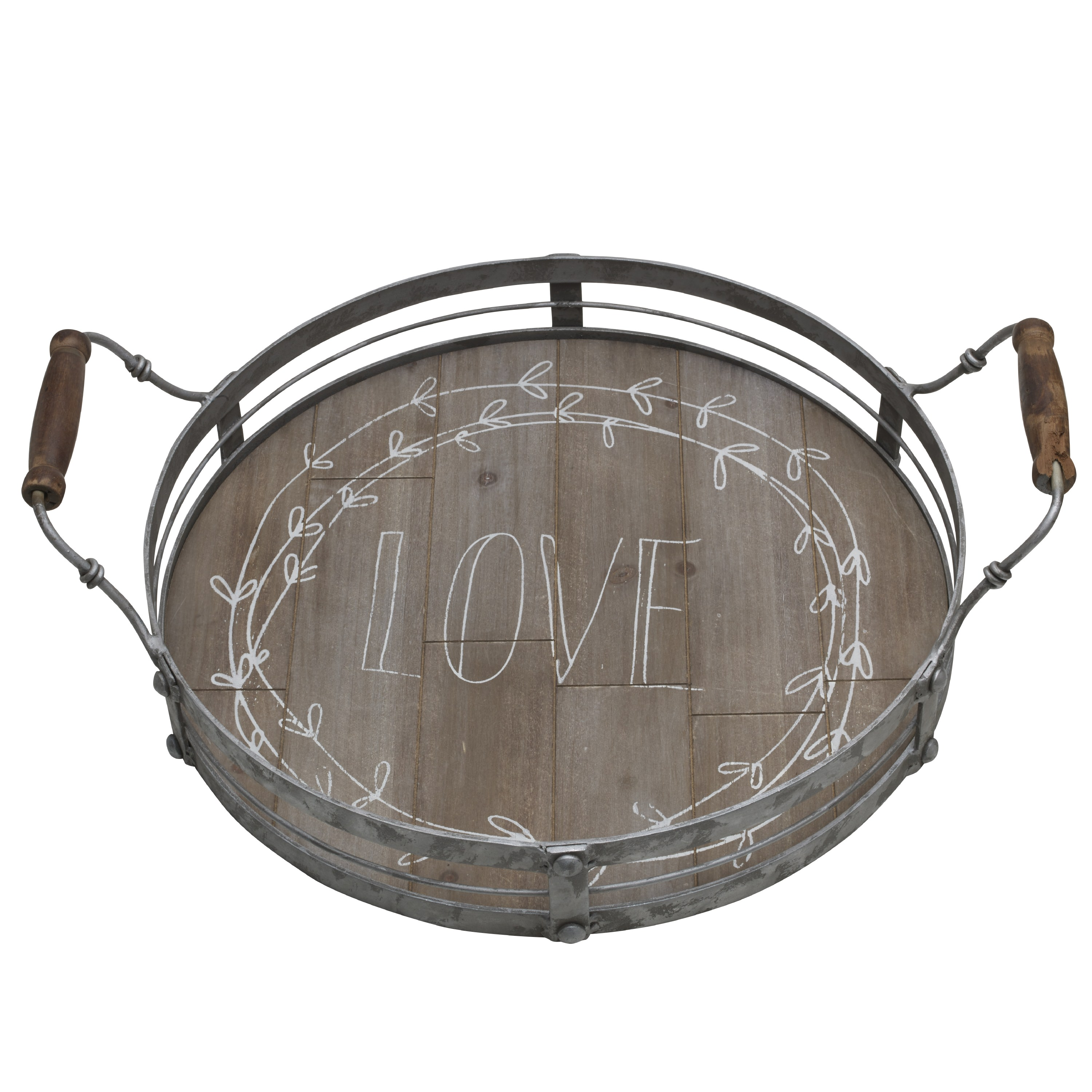 Elements 16.75 Inch Round Wood Galvanized Love Tray