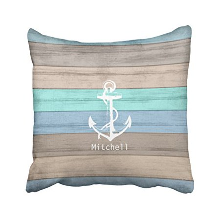 WinHome Square Throw Pillow Covers Rustic Beach Wood Nautical Stripes Anchor Round Customizable Pillowcases Polyester 18 X 18 Inch With Hidden Zipper Home Sofa Cushion Decorative Pillowcase