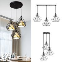 Asewon Chandelier Hanging Light Kitchen Lighting Ceiling Lights Fixtures with Long Round Plate for Dining Room Cafe Bar 3 Lights
