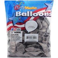 "Pioneer 72 Shinning Platinum Latex Balloons 11"" Made In USA."
