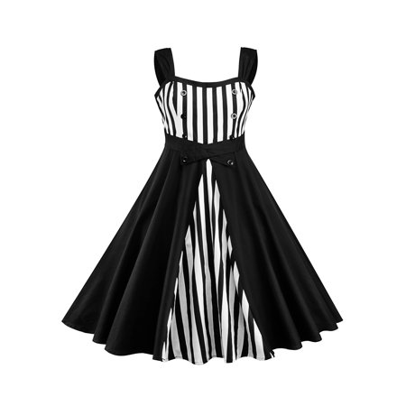 Plus Size Women Vintage Strip Strap Splice Sleeveless Rockabilly ...