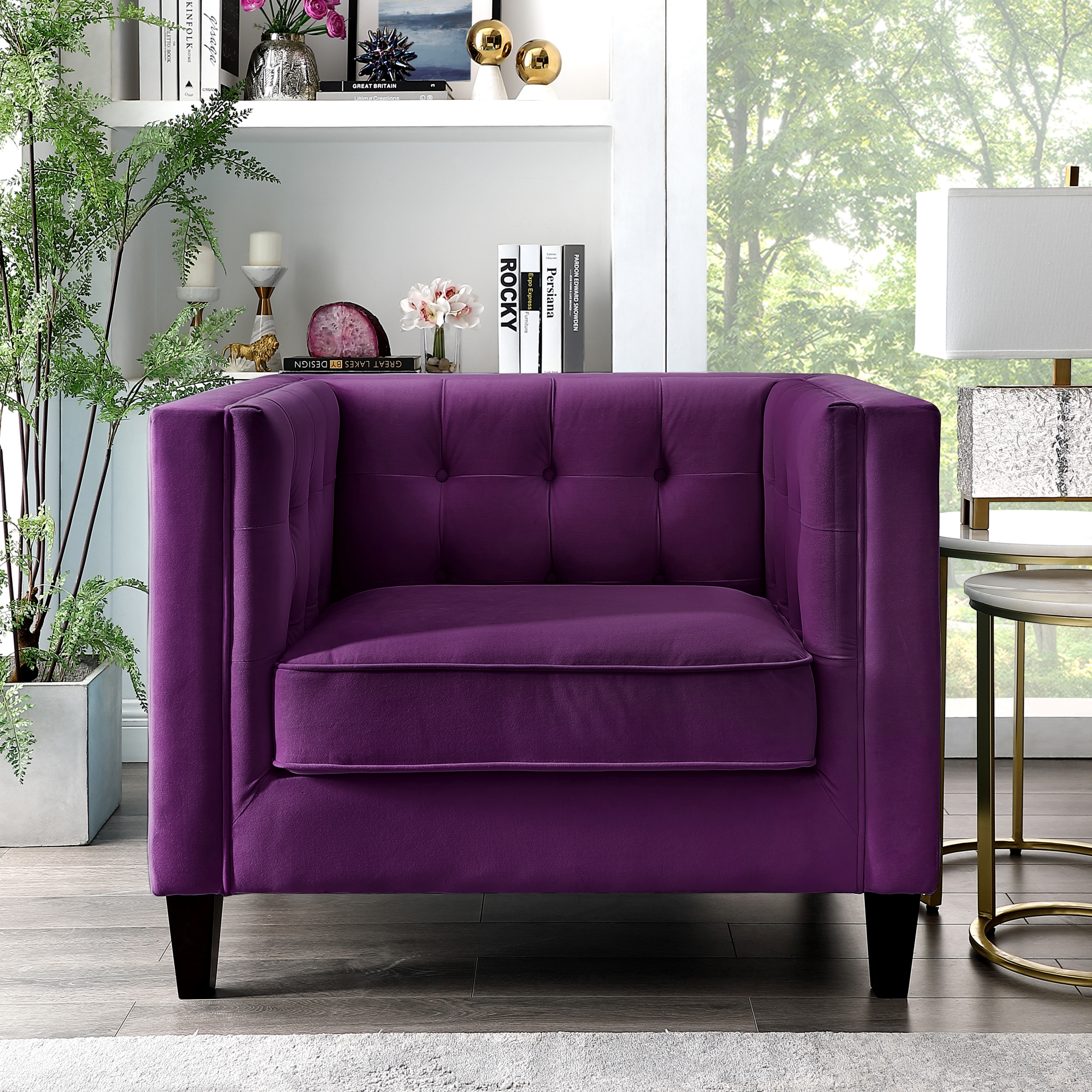 Inspired Home Rin Velvet Club Chair Or Sofa Tufted Square Arms Tapered Legs Modern Purple Walmart Com Walmart Com