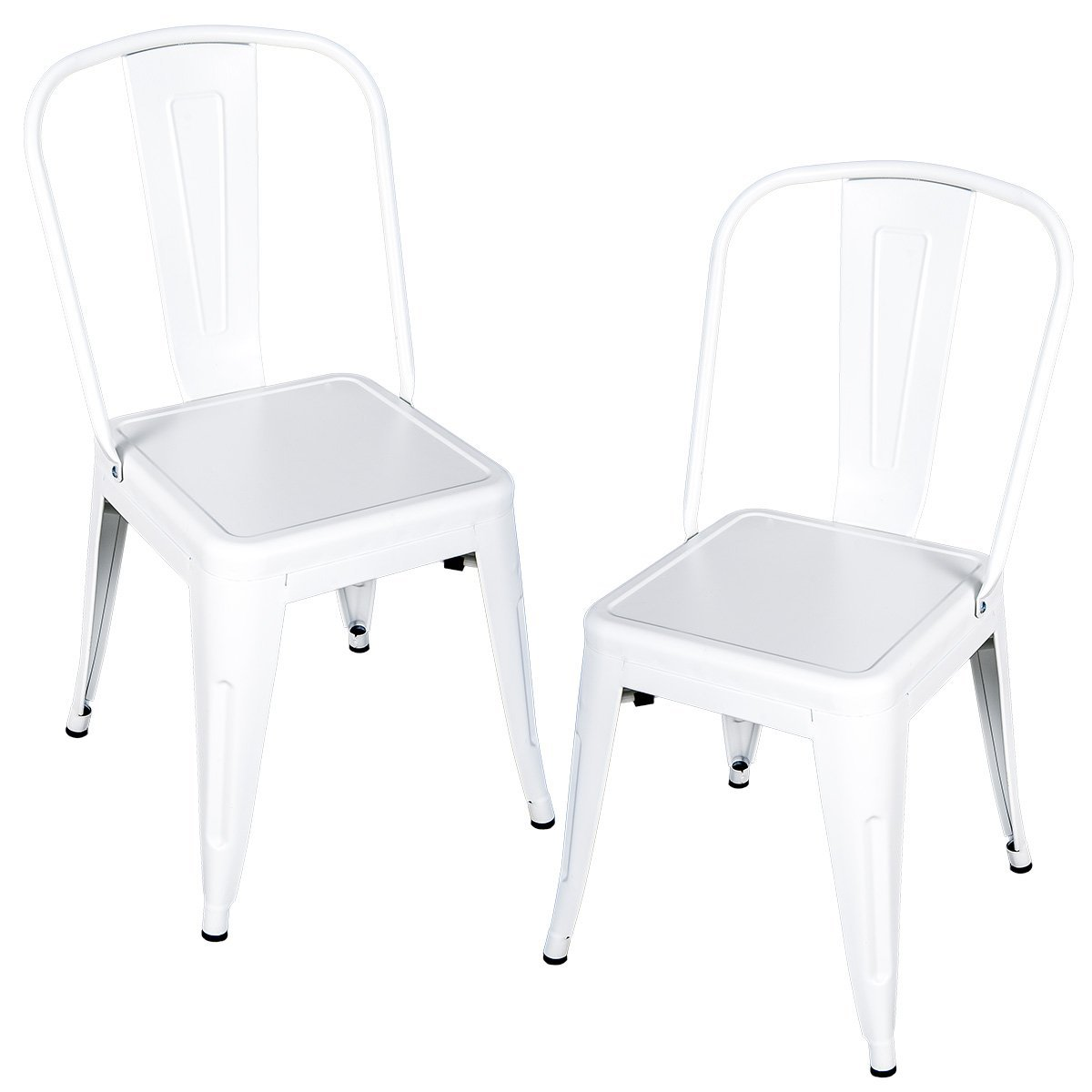 Charmant Merax Seat Series Metal Dining Chairs Of Tolix Style, Set Of 2(White)