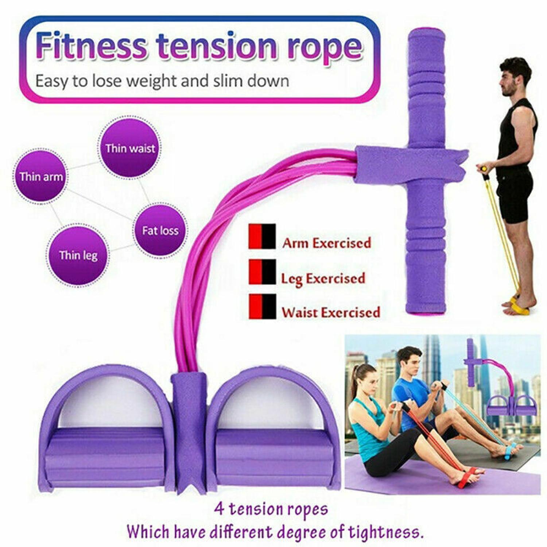 BOSHIYA Elastic Sit Up Pull Rope Spring Tension Foot Pedal Abdomen Leg Exerciser Tummy Trimmer Equipment Bodybuilding Home Gym Arm Waist Sport Fitness Stretching Purple