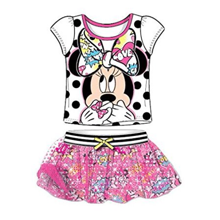 [P] Disney Youth Girls' Minnie Mouse Mesh Sleeve T Shirt and Comic Print Skirt Outfit - Comic Con Girls