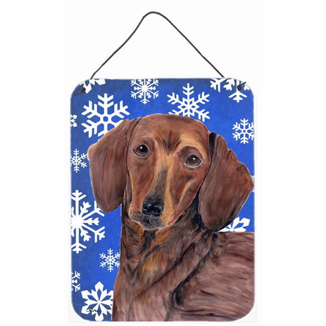 Carolines Treasures SC9368DS1216 Dachshund Winter Snowflakes Holiday Aluminium Metal Wall Or Door Hanging Prints - image 1 of 1