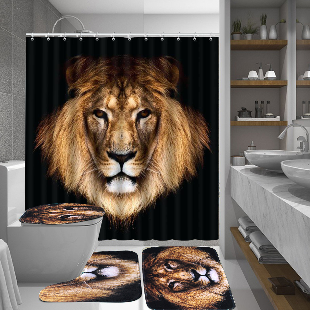 Movie Theater Shower Curtain Cat Popcorn Print for Bathroom