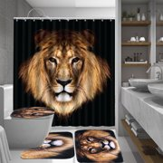 African Lion Bathroom Waterproof Shower Curtain Liner Shower Curtain Sets with Bath Mat + Toilet Pedestal Rug + Toilet Seat Lid Cover for Home Decor Gift