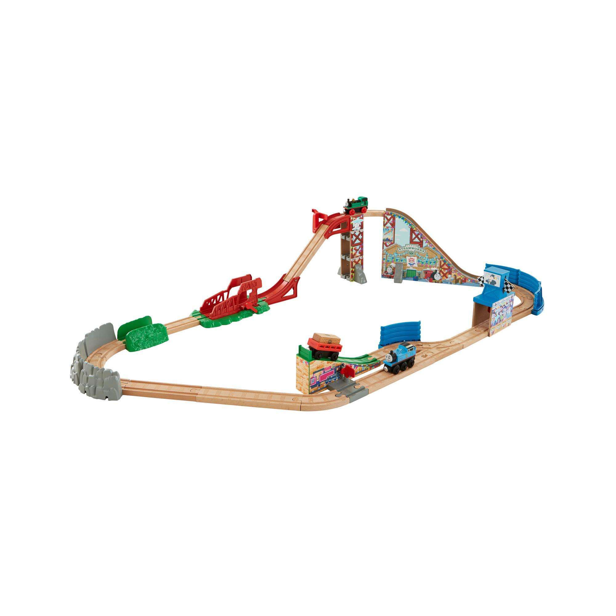 Fisher Price Thomas the Train Wooden Railway Race Day Relay Set by Mattel