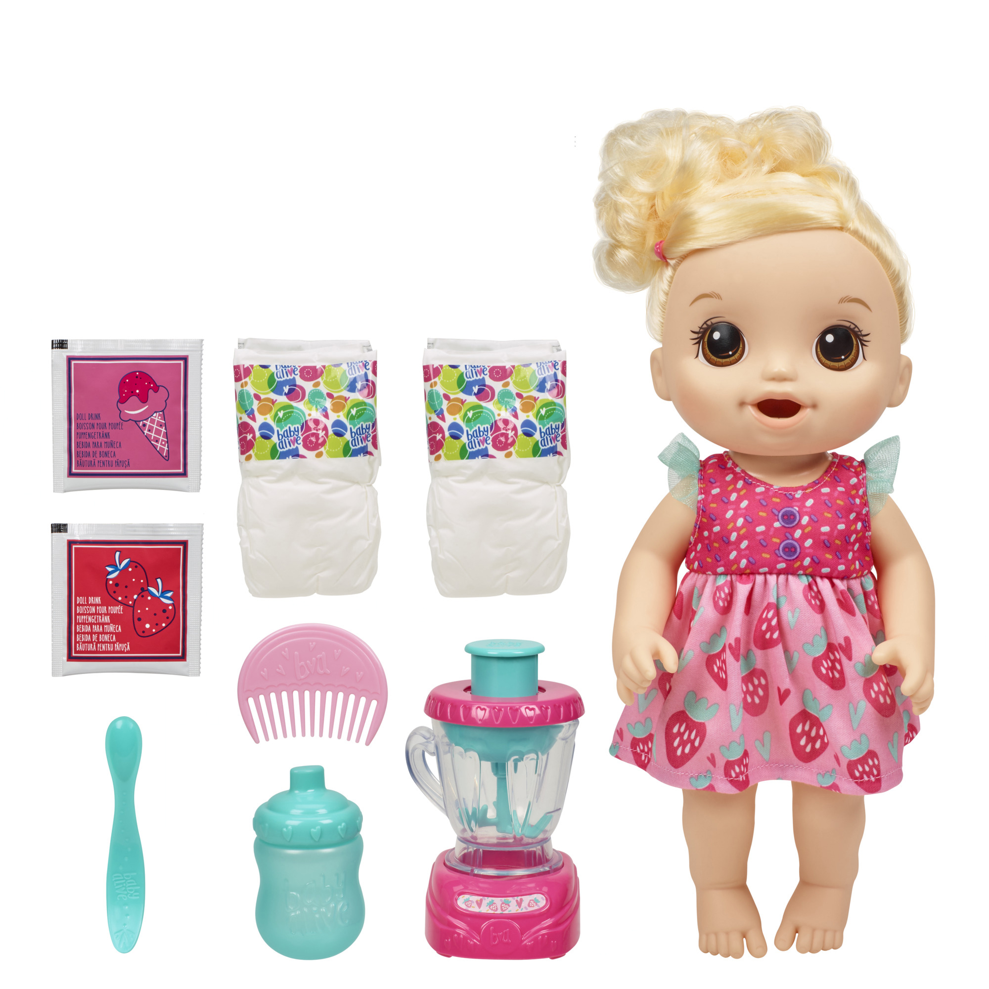 Baby Alive Magical Mixer Baby Doll Strawberry Shake With Blender Accessories Drinks Wets Eats Walmart Com Walmart Com