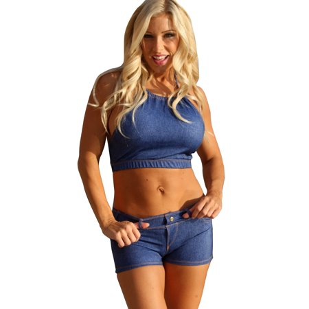 06b7d5aea6e4 Ujena Baby Blue Jeans Bikini Top Swimwear - Size: Large - image 1 of 4 ...