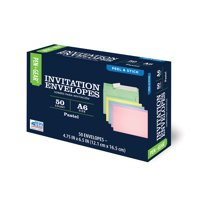 Pen+Gear Invitation Social Envelopes with Peel & Stick Closure, Assorted Pastels 50ct (60795)